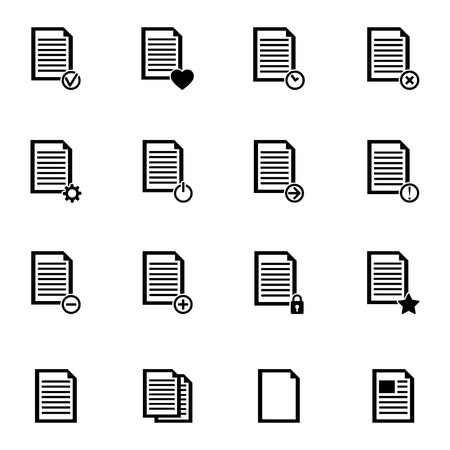 article icon: Vector black  document icons set on white background