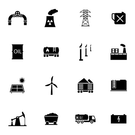 Vector black industry icons set on white background Vector