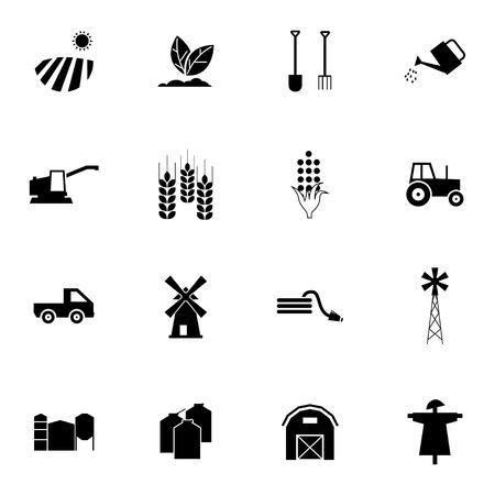 wheat grain: Vector black  farming icons set on white background Illustration