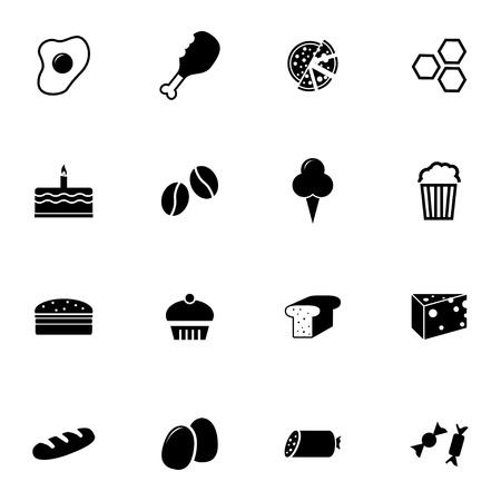 Vector black food icons set on white background Vector