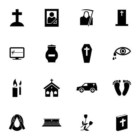 Vector zwart begrafenis pictogrammen instellen op een witte achtergrond Stock Illustratie