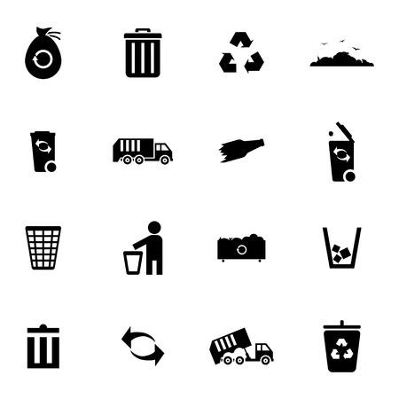 biodegradable material: Vector black  garbage icons set on white background Illustration