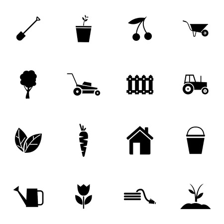 Vector black  gardening icons set on white background Vector