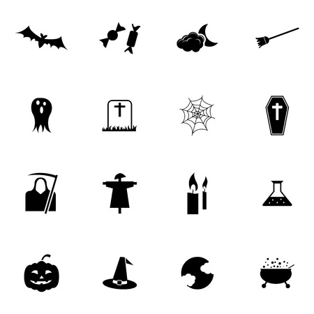 Vector black  halloween icons set on white background Vector