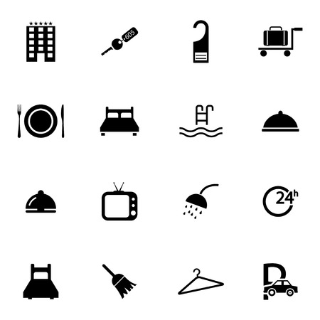 sleeping car: Vector black  hotel icons set on white background