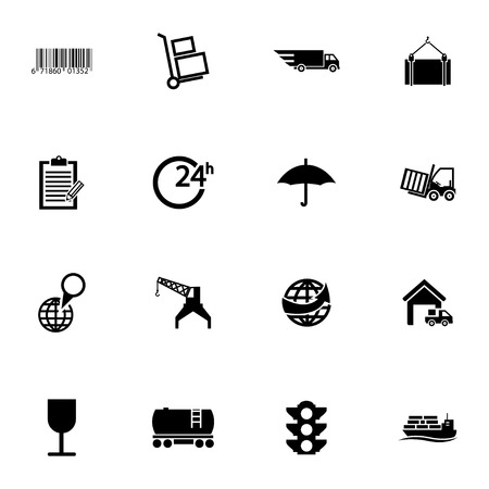 world trade center: Vector black  logistic icons set on white background Illustration