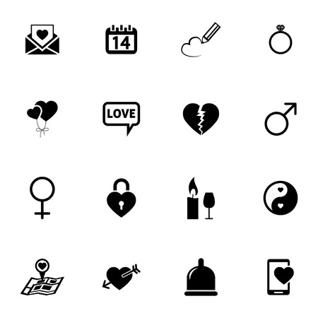 Vector black  love icons set on white background Vector