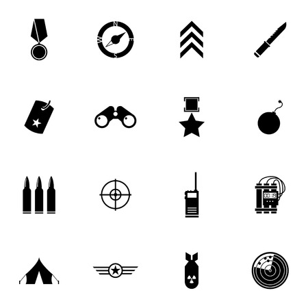 Vector black  military icons set on white background Vector