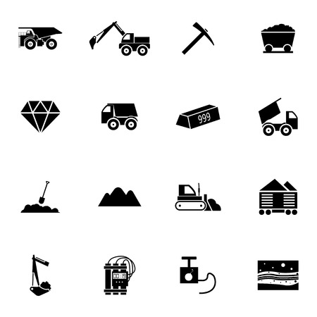 mining icons: Vector Black  Mining Icons Set on white background Illustration
