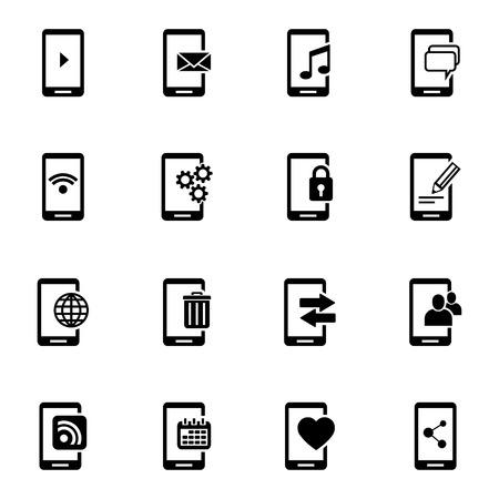 Vector black mobile icons set on white background Illustration