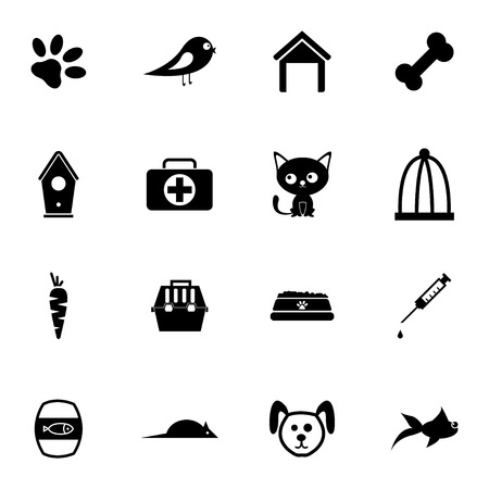 Vector black pet icons set on white background Vector