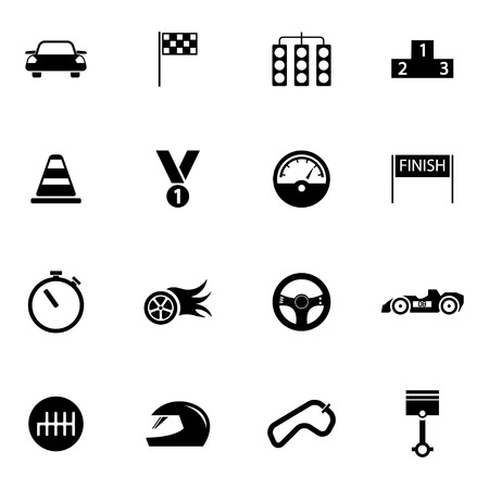 f1: Vector black  racing icons set on white background Illustration