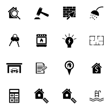 Vector black real estate icons set on white background Stock Vector - 27352846