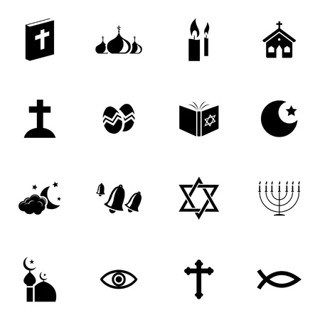 Vector black  religion icons set on white background Vector