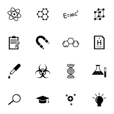 substances: Vector black  science icons set on white background Illustration