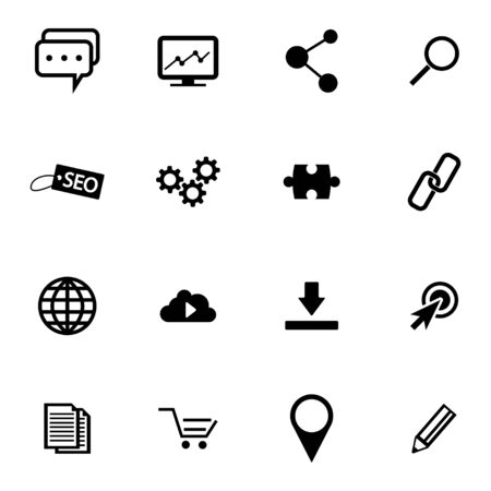 press release: Vector Black  Seo Icons Set on white background Illustration