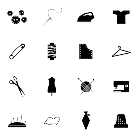 Vector black  sewing icons set on white background Vector