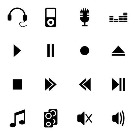 Vector black  sound icons set on white background Vector