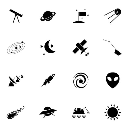 Vector black  space icons set on white background Stock Vector - 27352938