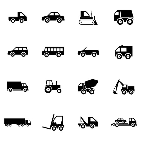 Vector black  vehicle icons set on white background Vector