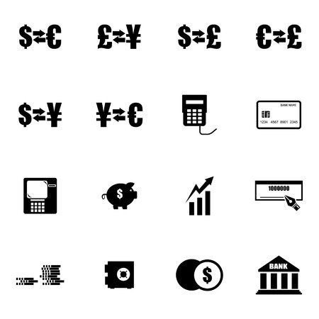 Vector black  bank   icons set on white background Vector