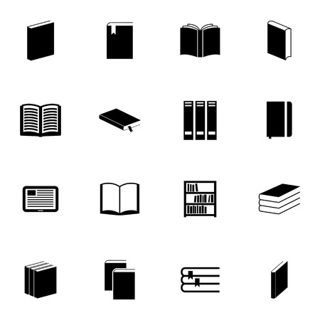 open bible: Vector black  book  icons set on white background Illustration