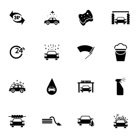 Vector black  car wash  icons set on white background Vector