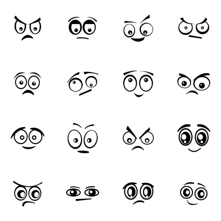 Vector black  cartoon  eyes  set on white background Ilustração