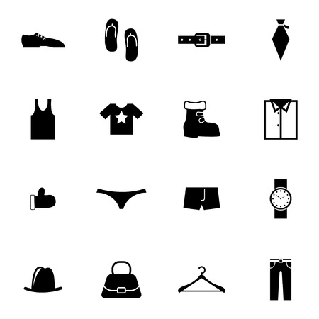 Vector black  clothes  icons set on white background Vector
