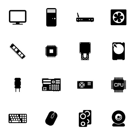 Vector zwart PC onderdelen pictogrammen instellen op een witte achtergrond