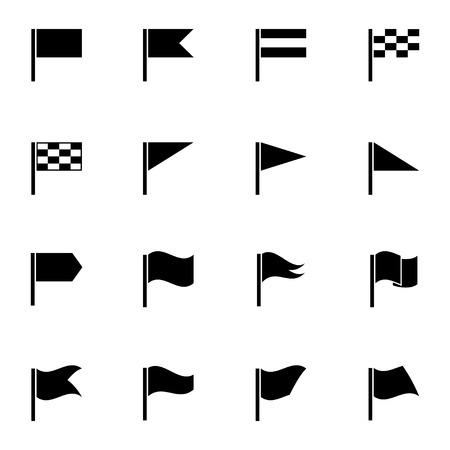 Vector black flag icons set on white background Vector