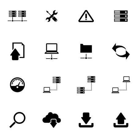 ftp: Vector black FTP icon set on white background Illustration