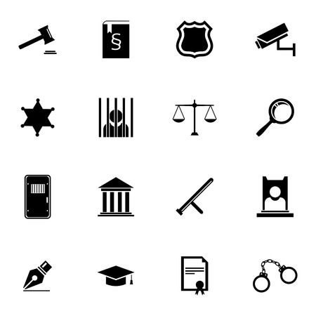 tribunal: Vector black justice icons set on white background