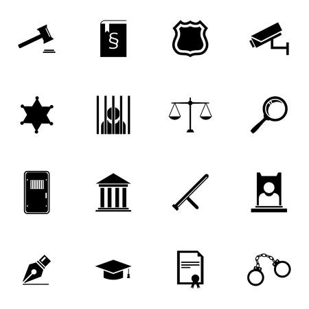 judicial system: Vector iconos de justicia establecidas negro sobre fondo blanco