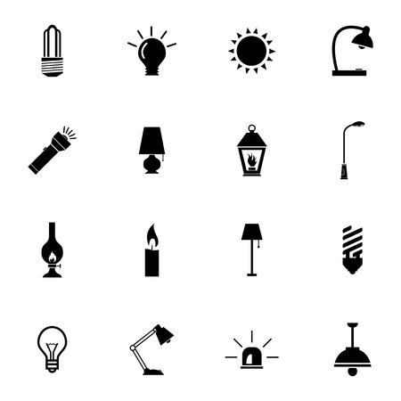 streetlight: Vector black light icons set on white background