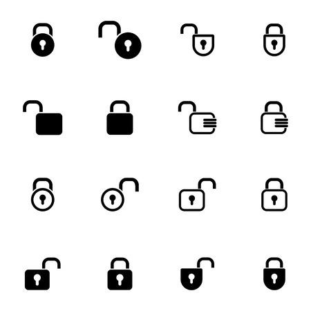 locked icon: Vector black  lock  icons set on white background