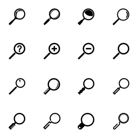 Vector black  magnifying glass  icons set on white background Vector