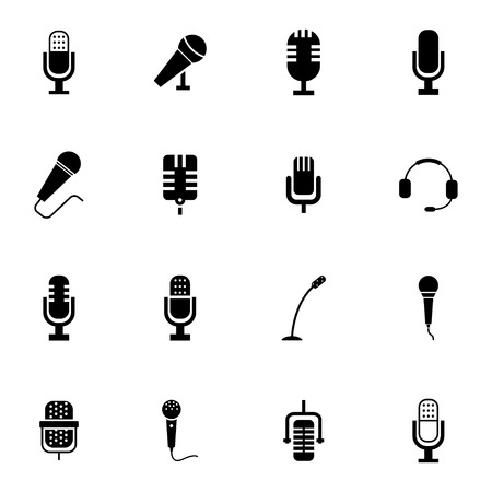 Vector black  microphone  icons set on white background Illustration
