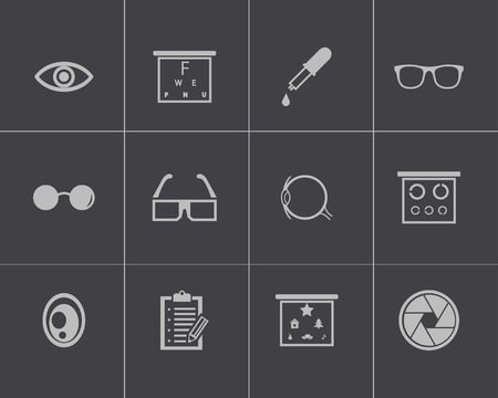 Vector black  optometry  icons set on gray background Vector