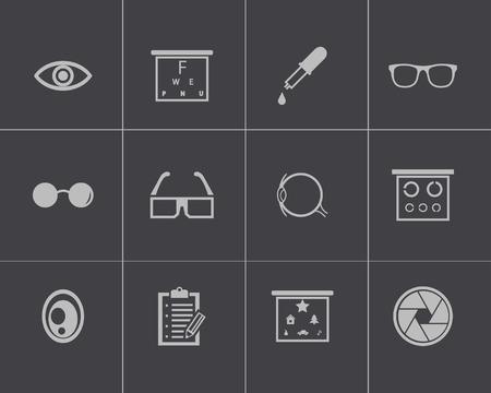 optometry: Vector black  optometry  icons set on gray background