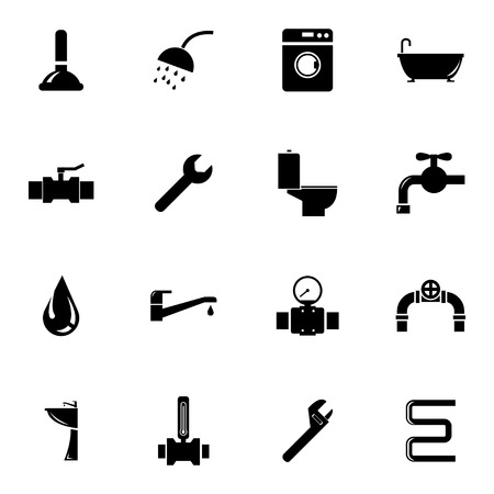 Vector black  plumbing  icons set on white background
