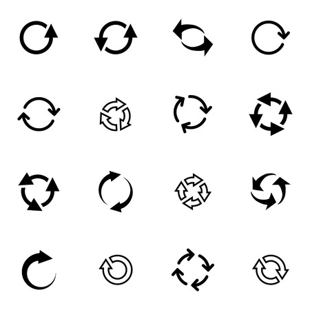 Vector black refresh icons set on white background Vector