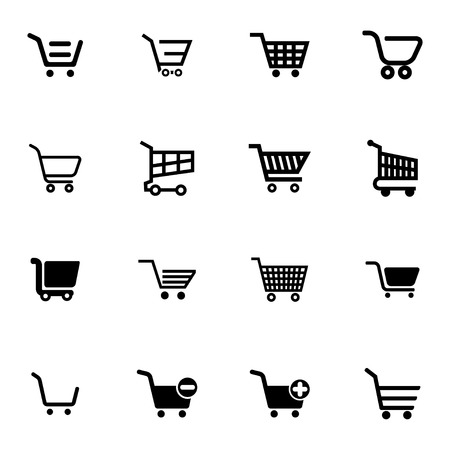 ecommerce icons: Vector black  shopping cart  icons set on white background