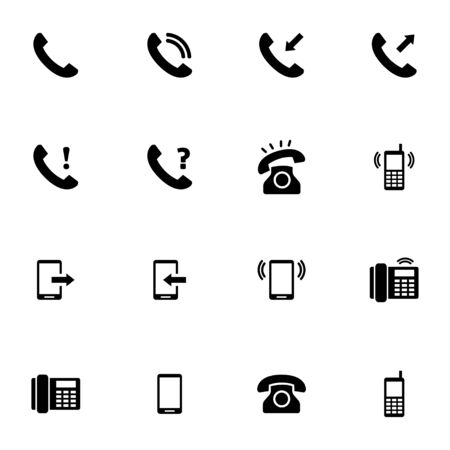 telephone receiver: Vector black telephone icons set on white background