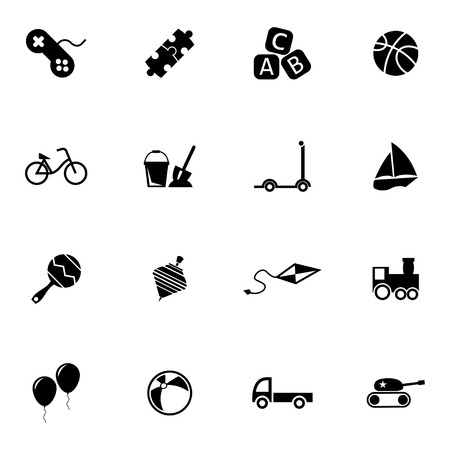 Vector black  toys  icons set on white background Vector