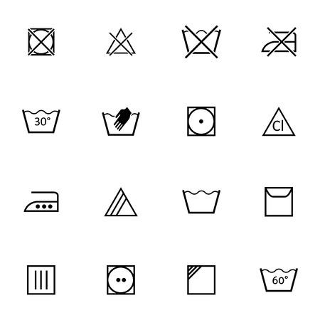 Vector zwart wassen pictogrammen instellen op een witte achtergrond Vector Illustratie