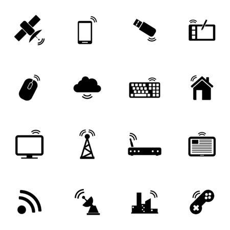 satellite transmitter: Vector black wireless icons set on white background
