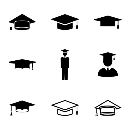 master degree: Vector black academic cap icons set on white background Illustration