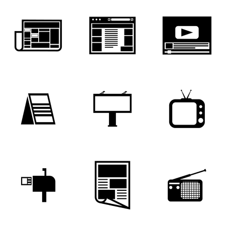 advertiser: Vector nero pubblicit� icons set su sfondo bianco