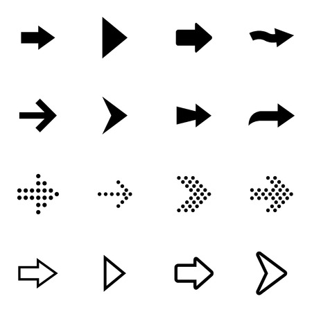 Vector black arrows icons set on white background Illustration